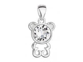 Stříbrný přívěsek - medvídek s krystalem Swarovski