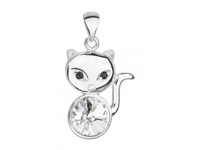 Stříbrný přívěsek - kočička s krystalem Swarovski
