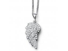 Stříbrný náhrdelník s krystaly Swarovski Oliver Weber - andělská křídla
