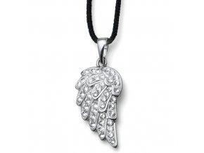 Stříbrný náhrdelník s krystaly Swarovski Oliver Weber - andělská křídla, šňůrka