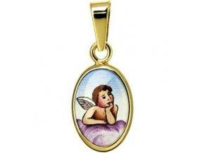 Dětský  přívěsek - ochranný andílek růžový, žluté nebo bílé zlato