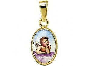 Zlatý dětský  přívěsek - ochranný andílek růžový