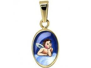 Zlatý dětský přívěsek - ochranný andílek modrý