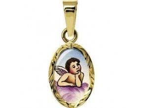 Zlatý dětský přívěsek - ochranný andílek růžový v rytém rámečku