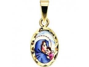 Zlatý dětský přívěsek - madonka s dítětem, rytý rámeček