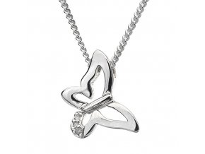 Stříbrný náhrdelník Hot Diamonds - diamantový motýlek 13 mm
