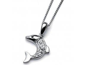 Náhrdelník s krystaly Swarovski Oliver Weber Dolphin 9133 - delfín