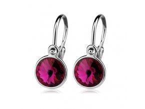 Dětské stříbrné náušnice s krystaly Swarovski - tmavě růžová 6 mm