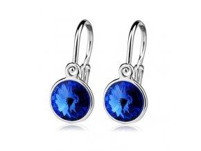 Dětské stříbrné náušnice s krystaly Swarovski - tmavě modrá 6 mm