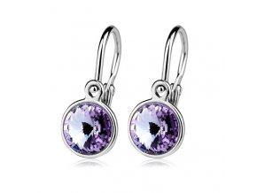 Dětské stříbrné náušnice s krystaly Swarovski - fialová 6 mm