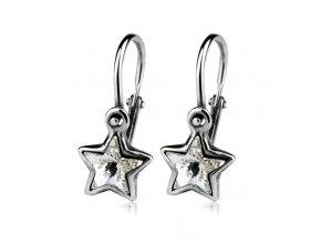 Dětské stříbrné náušnice, krystaly Swarovski - hvězdičky čiré 6,5 mm