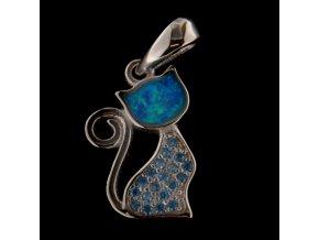 Stříbrný přívěsek - kočička s modrým opálem 10x14 mm