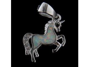 Stříbrný přívěsek - koník s bílým opálem 12x12 mm