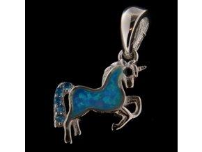 Stříbrný přívěsek - koník s modrým opálem 12x12 mm