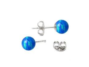 stribrne opalove nausnice 5 mm 073593 pd jasně modrá