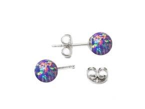 stribrne opalove nausnice 5 mm 073628 pd fialová