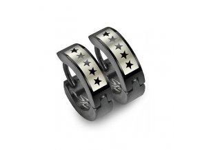 Ocelové kroužky s hvězdami 13,5x4 mm