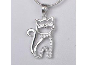 Dětský stříbrný přívěsek se zirkony - kočička 14x20 mm