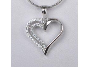 Dětský stříbrný přívěsek se zirkony - srdce 16x17 mm