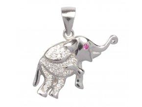 Dětský stříbrný přívěsek - slon se zirkony 20x15 mm