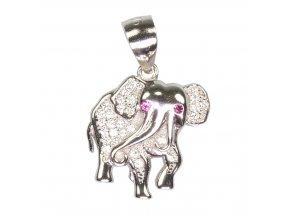 Dětský stříbrný přívěsek se zirkony - slon 16x17 mm