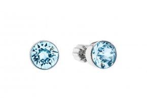 Stříbrné náušnice - kolečka se světle modrými krystaly Swarovski