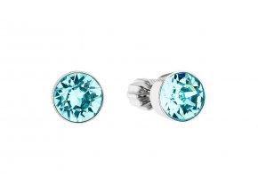 Stříbrné náušnice - kolečka se světle tyrkysovými krystaly Swarovski