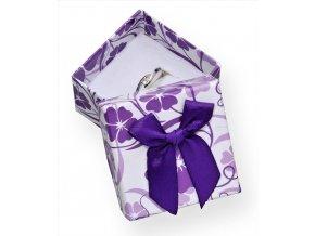 Dárková krabička papírová - fialová s mašlí