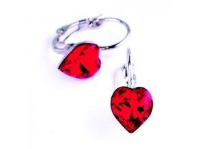Dívčí náušnice Swarovski® elements - srdíčka červená 8,8x8 mm