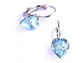 Dívčí náušnice SWAROVSKI® elements - srdíčka modrá 8,8x8 mm
