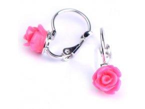 Dětské náušnice - růžičky růžové 7x6 mm