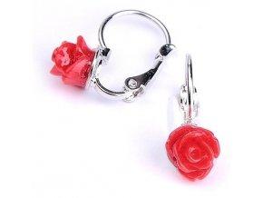 Dětské náušnice - růžičky červené 7x6 mm