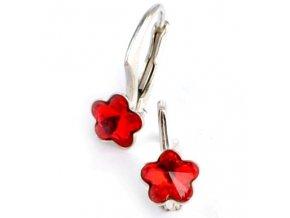 Dětské stříbrné náušnice Swarovski® elements –  červené kytičky 6 mm