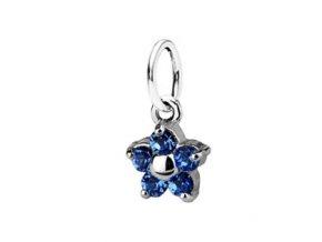 Dětský stříbrný přívěsek Swarovski® elements - modrá kytička 5 mm