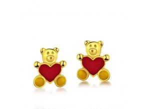 Dětské zlaté náušnice na šroubek - medvídci se srdíčkem 10x8,3 mm