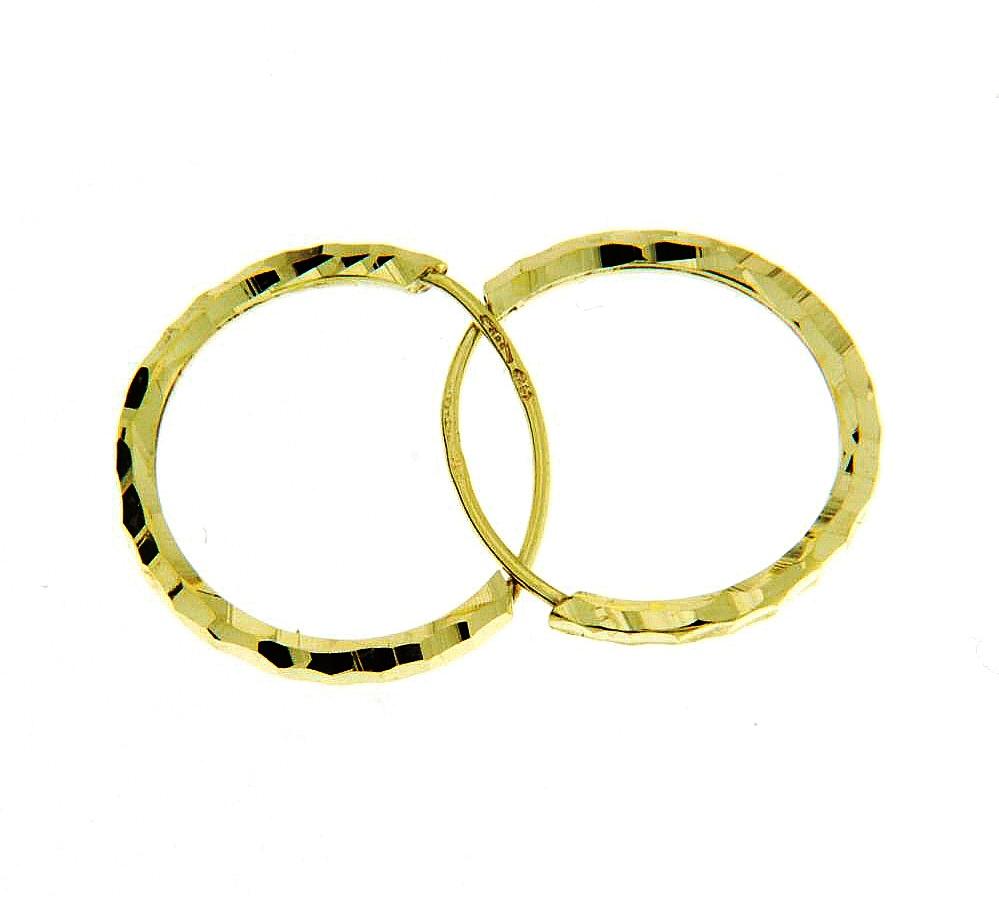 Luxur Dětské náušnice - kroužky ze žlutého zlata 12 mm