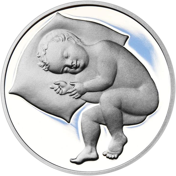 Stříbrný medailon k narození dítěte a ke křtu 2017