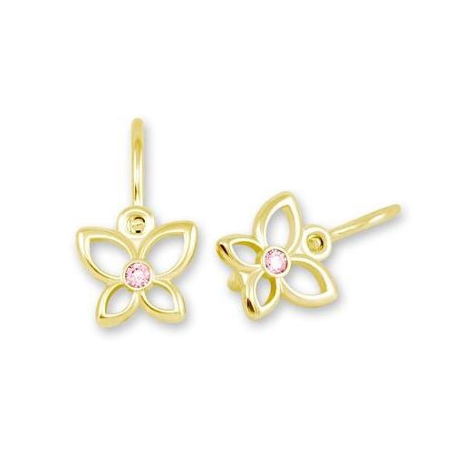 Soliter Dětské náušnice - zlatí motýlci s růžovými zirkony
