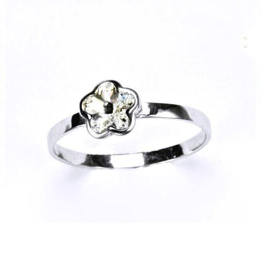 Stříbrný dětský prsten - čirá kytička Varianta:: Velikost 40
