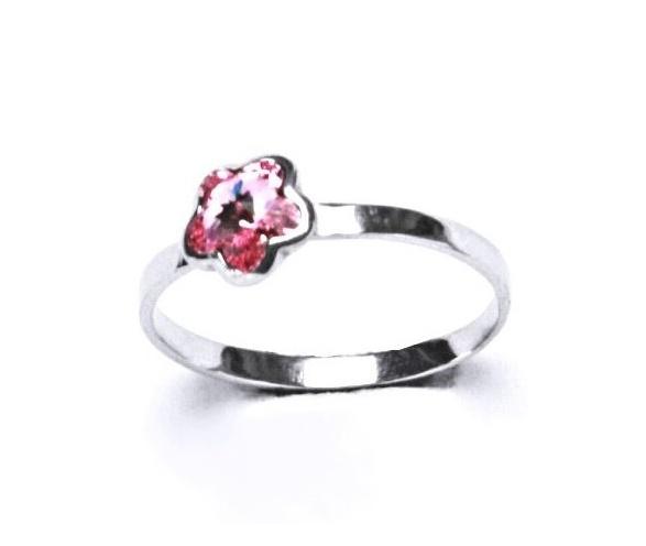 Stříbrný dětský prsten - růžová kytička Varianta:: Velikost 44