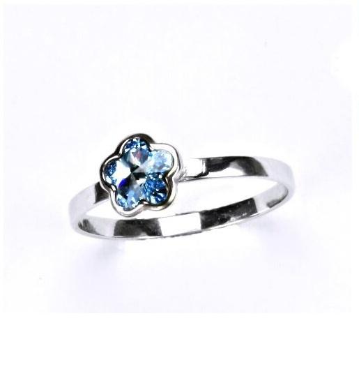 Stříbrný dětský prsten - modrá kytička Varianta:: Velikost 40