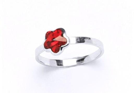Stříbrný dětský prsten - červená kytička Varianta:: Velikost 40