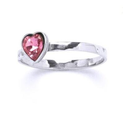 Stříbrný dětský prsten - růžové srdíčko Varianta:: Velikost 40