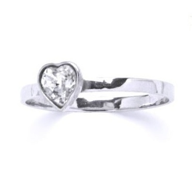 Stříbrný dětský prsten - čiré srdíčko Varianta:: Velikost 40