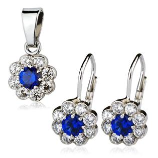 Šperky4U Dětská stříbrná souprava - kytičky s modrými zirkony
