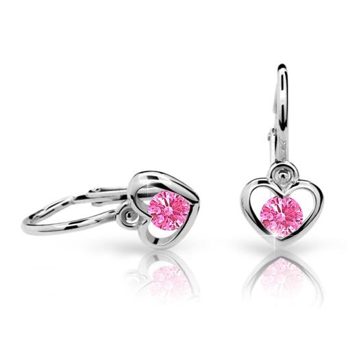 Cutie Jewellery Dětské naušnice Cutie C1943-B Pink - srdíčka