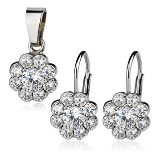 Šperky4U Dětská stříbrná souprava - kytičky s čirými zirkony
