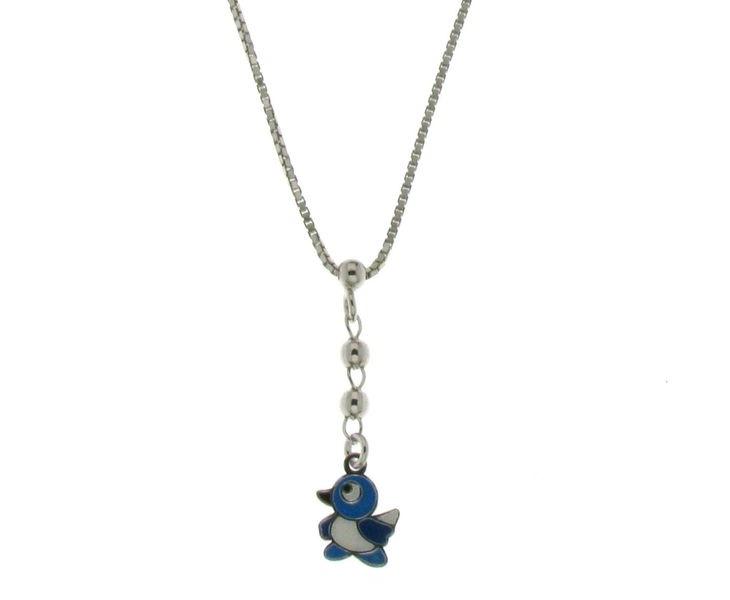 Dětský stříbrný náhrdelník s ptáčkem