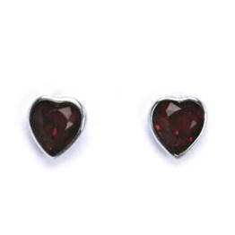 Stříbrné dětské náušnice s krystalem Swarovski - červené srdce