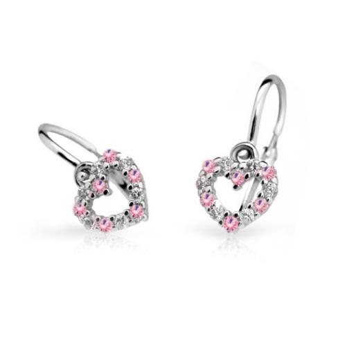 Cutie Jewellery Dětské naušnice Cutie C2157-B Pink - srdíčka